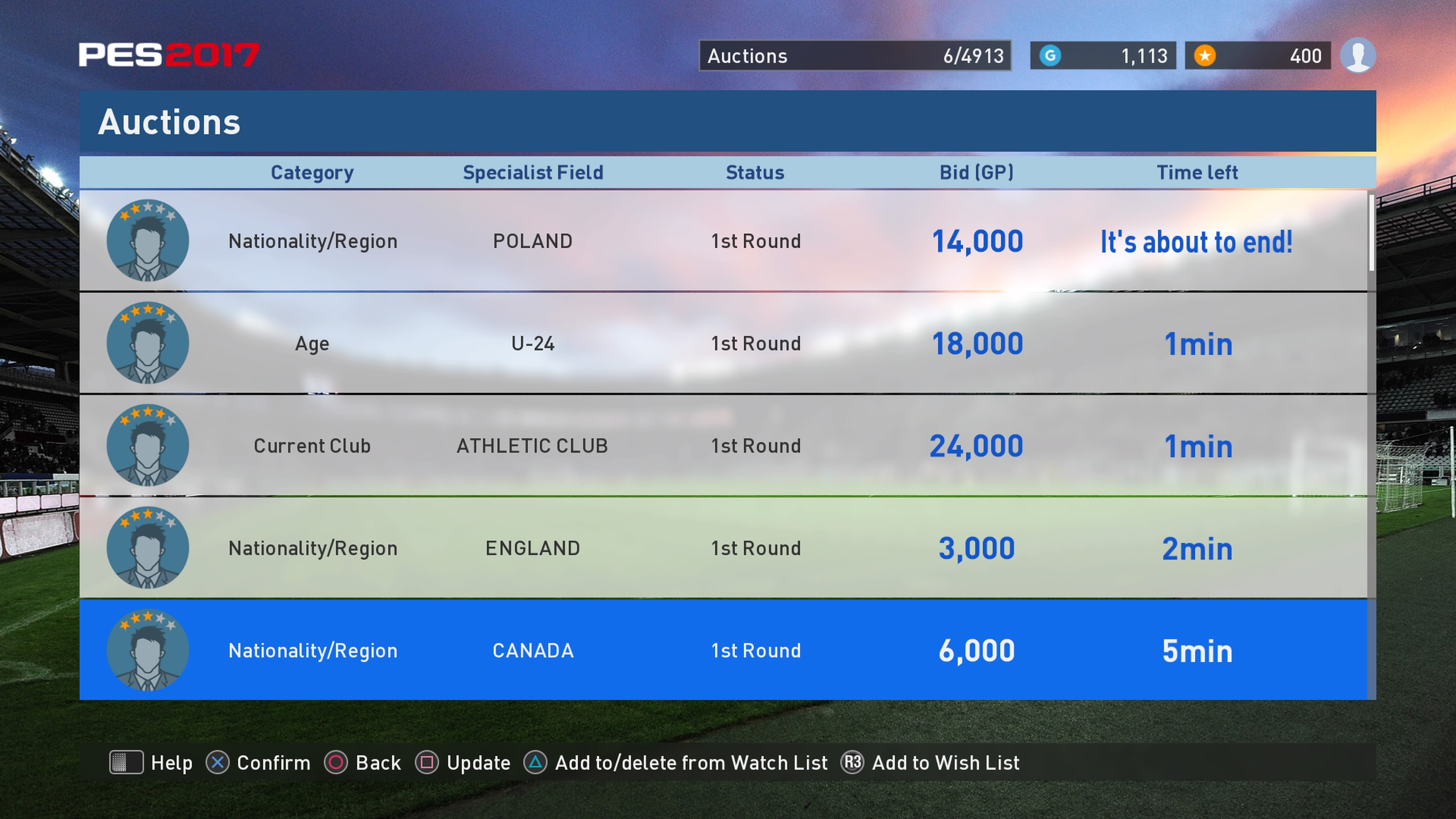 myClub - Auction Price